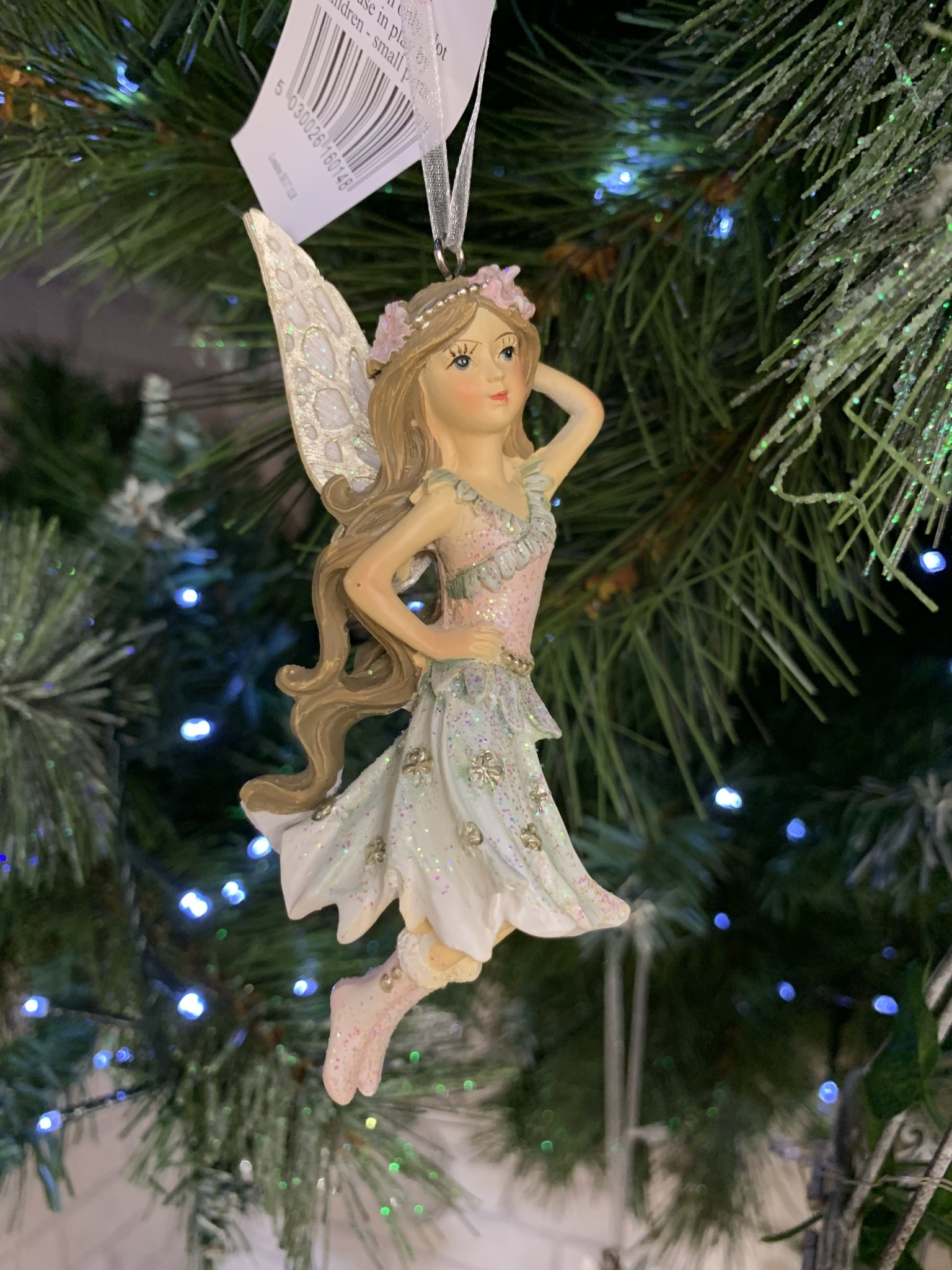 Pink & Blue Resin Fairy with Red Boots Hanging Decoration