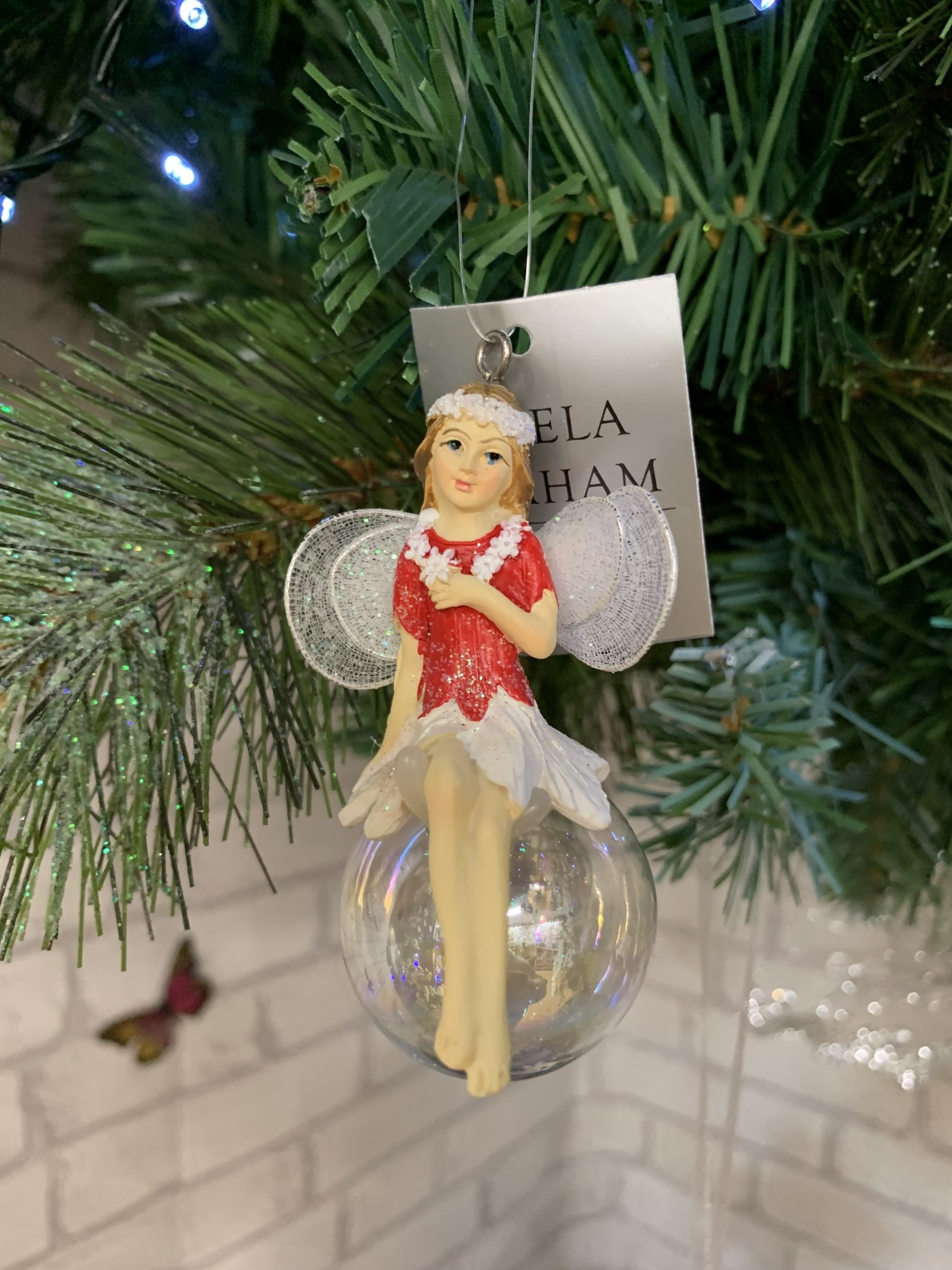 Red & White Pixie on Soap Bubble Hanging Decoration