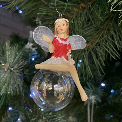 Gisela Graham Red & White Pixie on Soap Bubble Arm Out Hanging Decoration