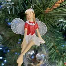Gisela Graham Red & White Pixie on Soap Bubble Legs Crossed Hanging Decoration