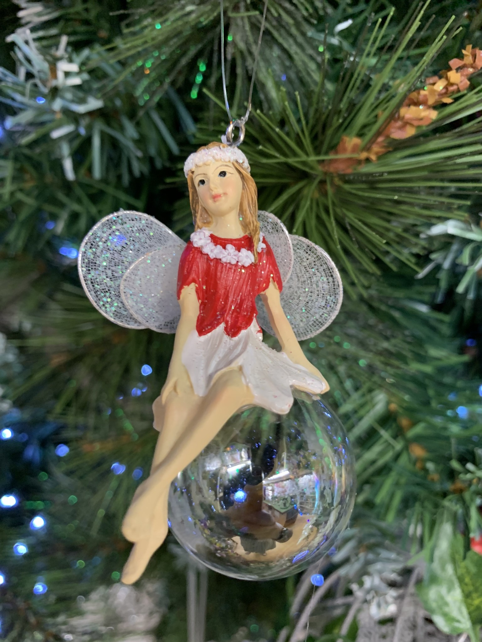 Red & White Pixie on Soap Bubble Legs Crossed Hanging Decoration