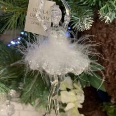 Gisela Graham Acrylic White Feather Ballerina Arms Up Hanging Decoration