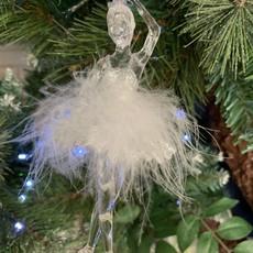 Gisela Graham Acrylic White Feather Ballerina Hanging Decoration