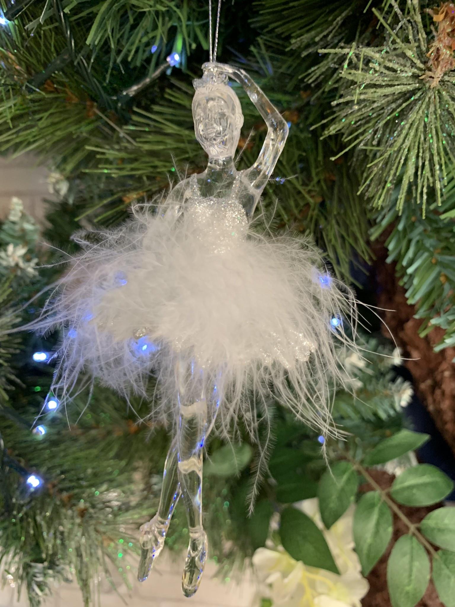 Acrylic White Feather Ballerina Hanging Decoration