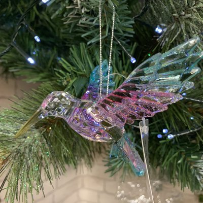 Gisela Graham Multi Colour & Clear Hummingbird Hanging Decoration