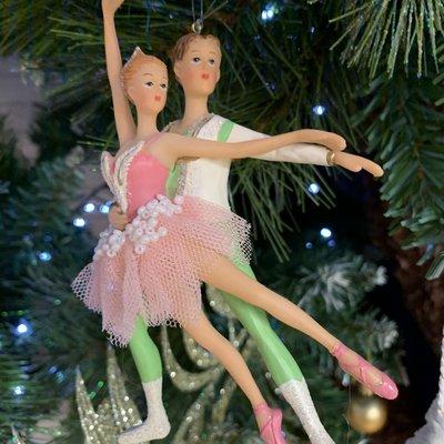 Gisela Graham Boy and Girl Resin Ballet Dancers - Beaded Skirt Hanging Decoration