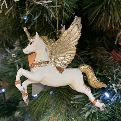 Gisela Graham White & Gold Resin Flying Unicorn Hanging Decoration