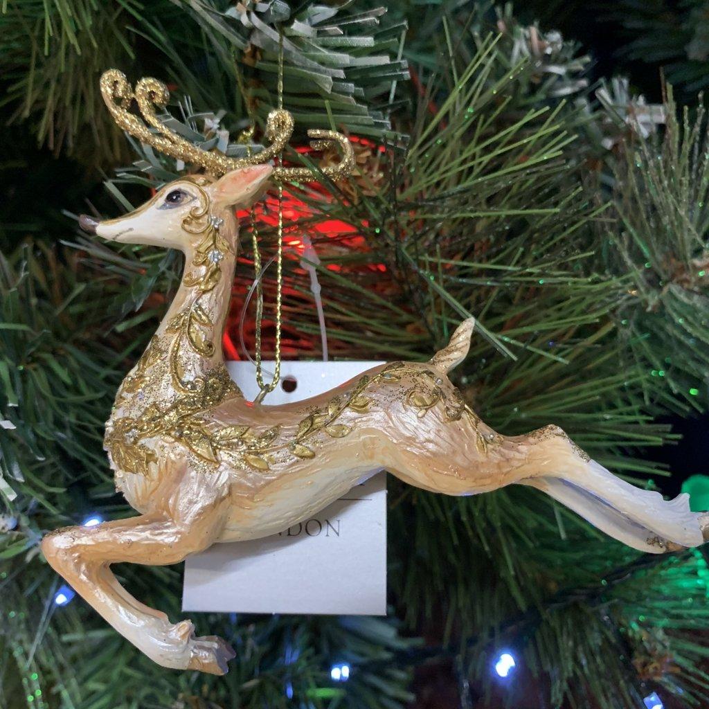Gisela Graham Bronze & Gold Resin Prancing Reindeer Hanging Decoration