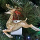 Bronze & Gold Resin Prancing Reindeer Hanging Decoration