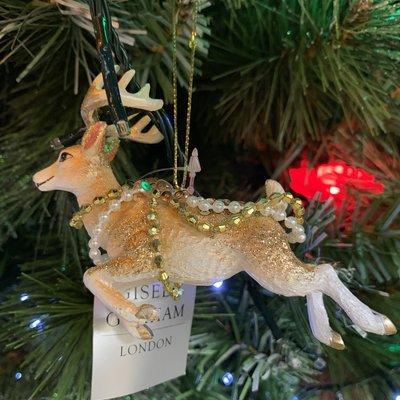 Gisela Graham Cream & Gold Resin Flying Reindeer Hanging Decoration