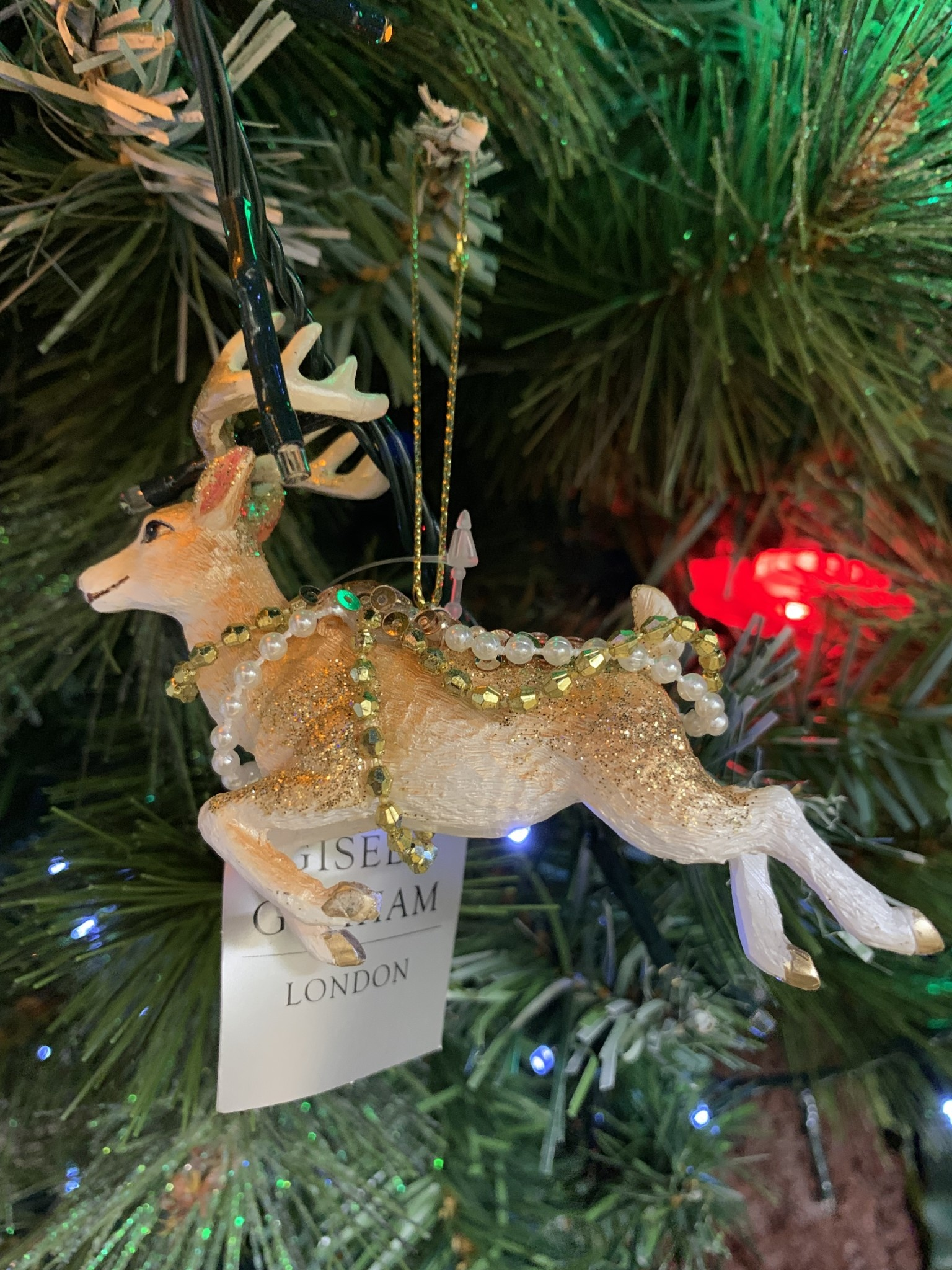 Cream & Gold Resin Flying Reindeer Hanging Decoration
