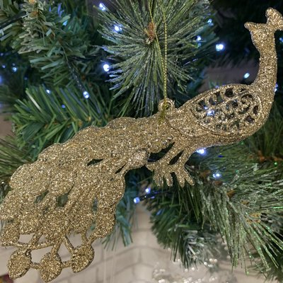 Gold Glitter Peacock Hanging Decoration