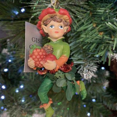 Gisela Graham Woodland Resin Pixie with Fruit Hanging Decoration