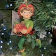 Woodland Resin Pixie with Fruit Hanging Decoration