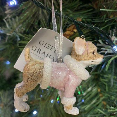 Gisela Graham Pastel Resin Dressed Dog Chihuahua Hanging Decoration