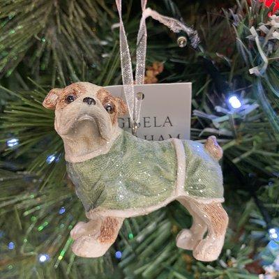 Gisela Graham Pastel Resin Dressed Bull Dog Hanging Decoration