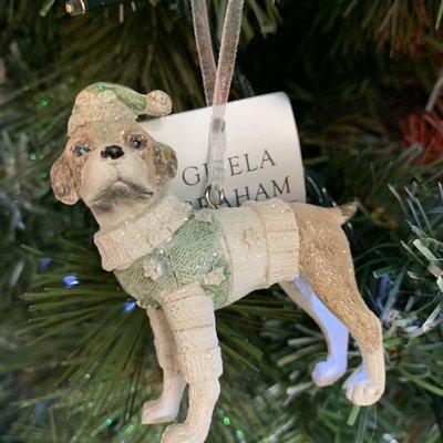 Gisela Graham Pastel Resin Dog Dressed In Green Hanging Decoration