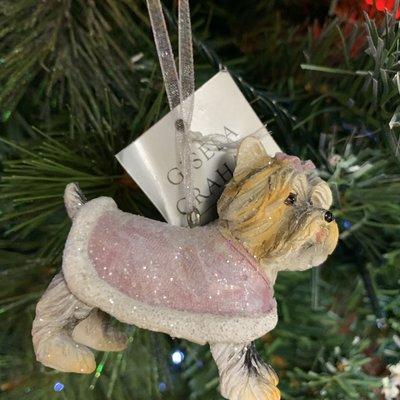 Gisela Graham Pastel Resin Dressed Dog Terrier Hanging Decoration