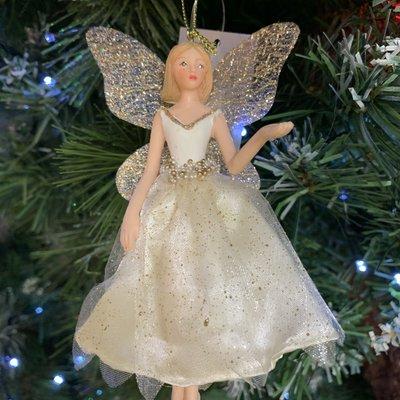 Gisela Graham Cream & Gold Fabric Fairy Arm Up Hanging Decoration