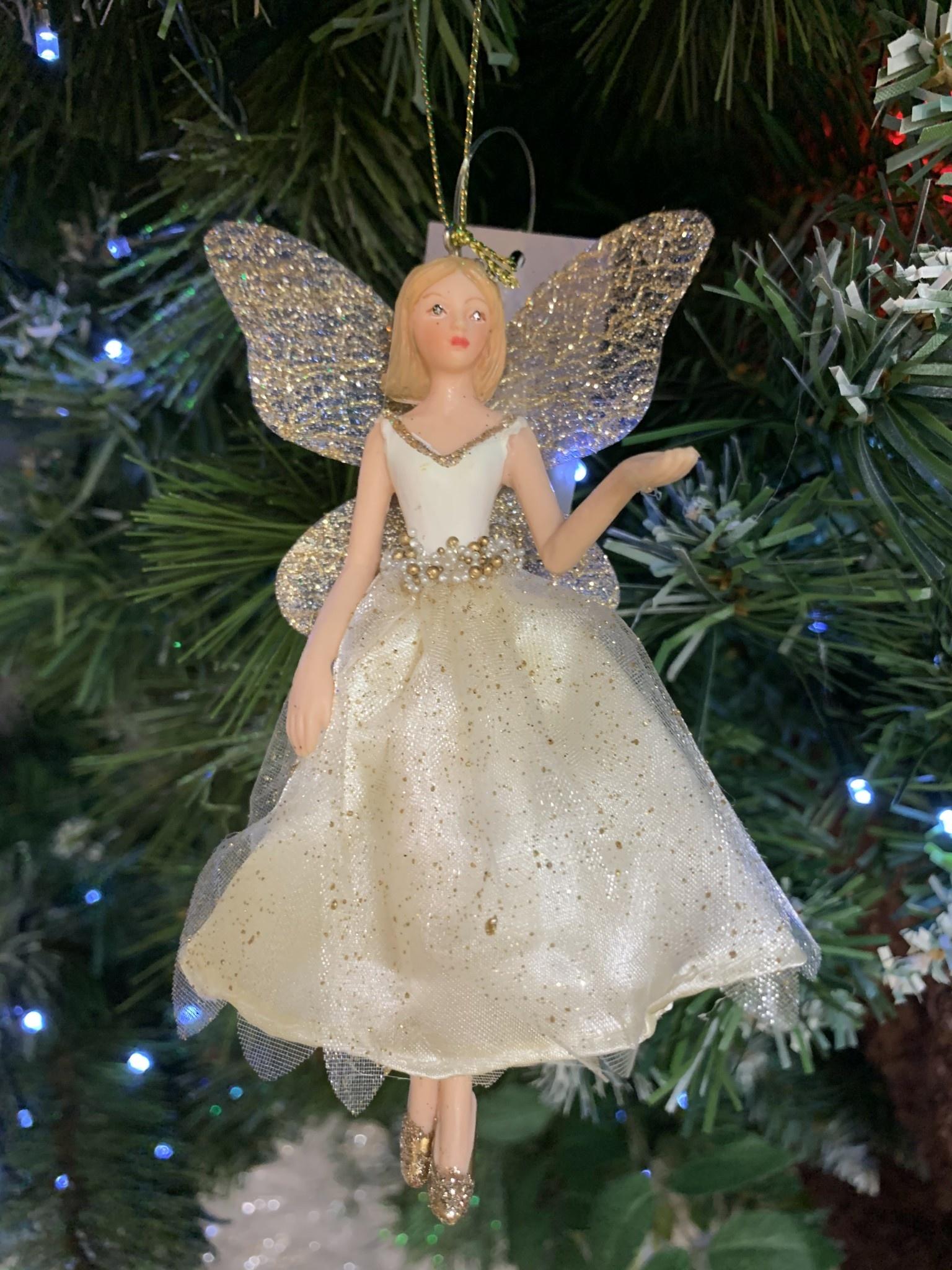 Cream & Gold Fabric Fairy Arm Up Hanging Decoration