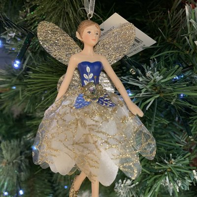 Gisela Graham White, Gold & Blue Resin & Fabric Fairy Arms Down Hanging Decoration