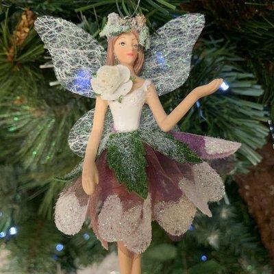 Gisela Graham White & Burgundy Hellebore Resin & Fabric Fairy Arm Up Hanging Decoration