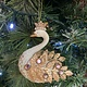 White & Gold Resin & Metal Swan with Pink Diamanté Hanging Decoration