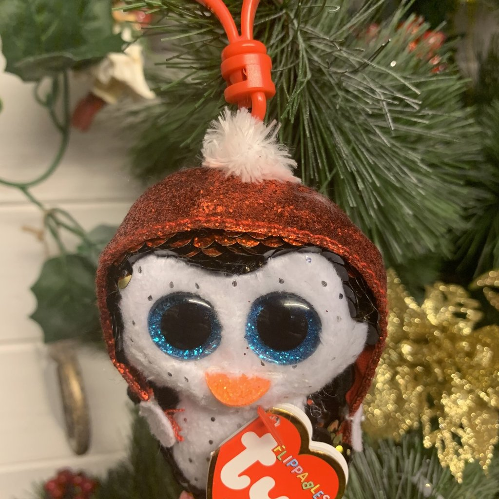 Ty Flippable Sequin Gale the Penguin - Beanie Boo Key Clip