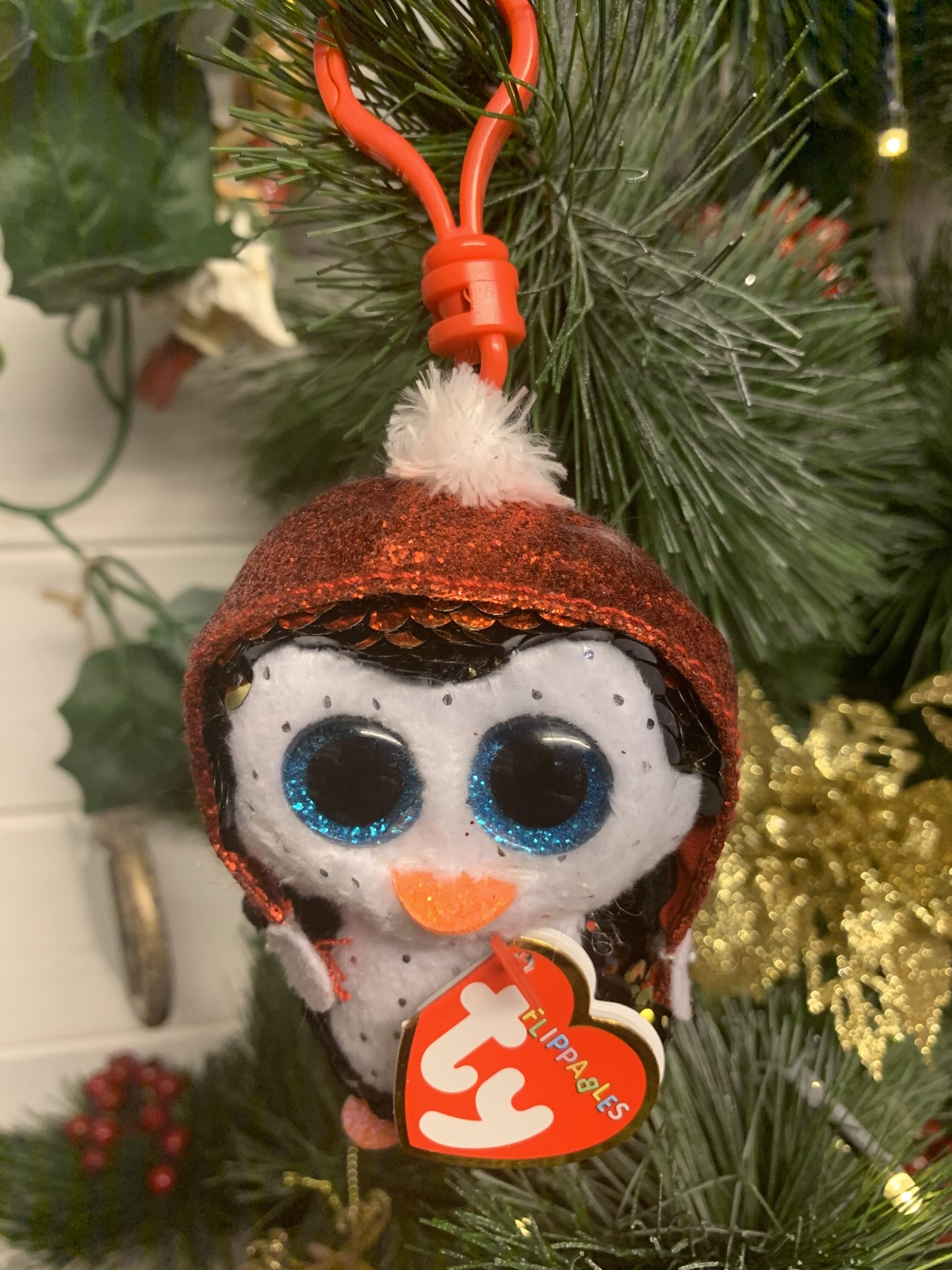 Ty Flippable Sequin Gale the Penguin - Key Clip