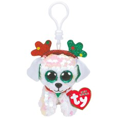 Ty Flippable Sequin Sugar the Dog - Beanie Boo Key Clip