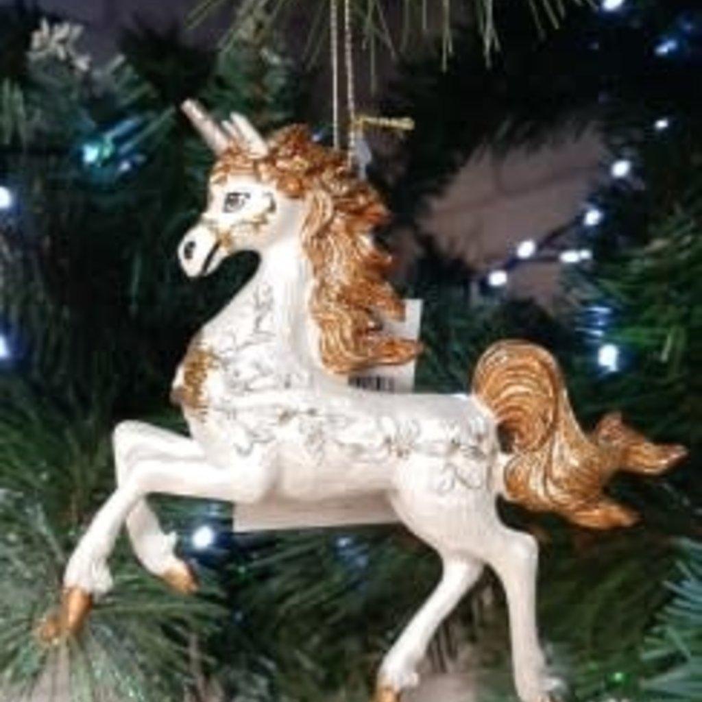 Gisela Graham Prancing Cream & Bronze Glitter Unicorn Hanging Decoration