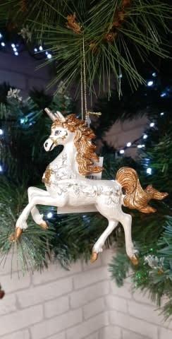 Prancing Cream & Bronze Glitter Unicorn Hanging Decoration