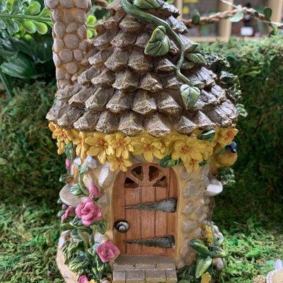 Stone Effect Fairy House with Blue Bird - Solar Powered
