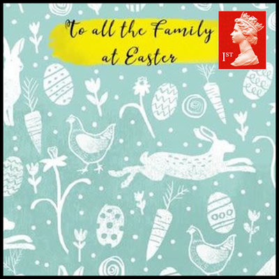 Paper House Easter Greeting Card with First class Stamp - To all the Family at Easter