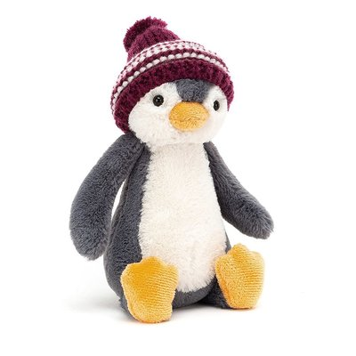 Jellycat - Jingle Jingle Jellycat - Bashful Bobble Hat Penguin Burgundy