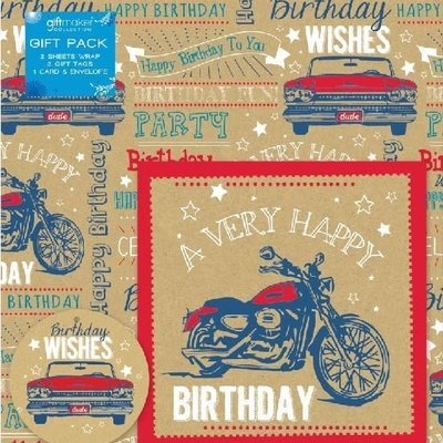 Gift maker collection Male Vehicles - Gift Wrap, Tag & Card Pack