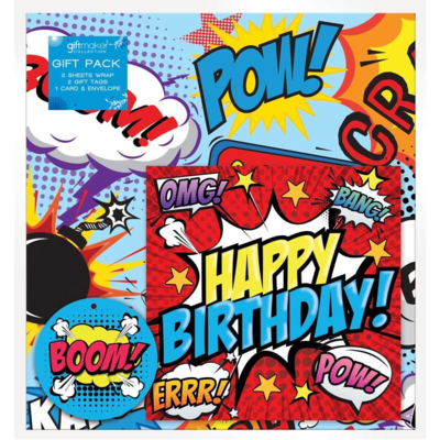 Gift maker collection Happy Birthday Comic - Wrap, Tags & Card