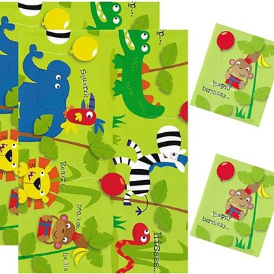 Simon Elvin Jungle Animals - Gift Wrap & Tags Pack