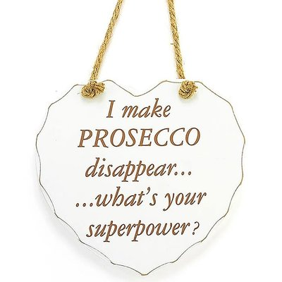 Lesser & Pavey Shabby Chic Heart Prosecco Plaque
