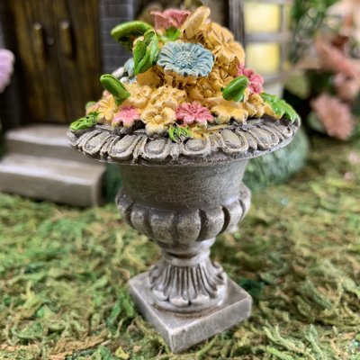 Fiesta Studios Stone Planter with Flowers