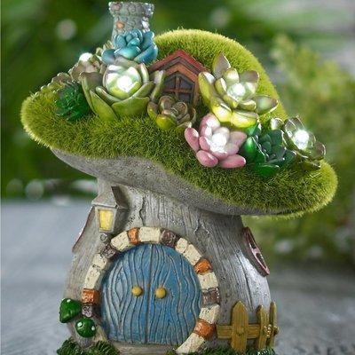 Solar Fairy Mushroom House with Succulents