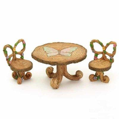 Fairy Village Wooden Flower Table & Chair Set