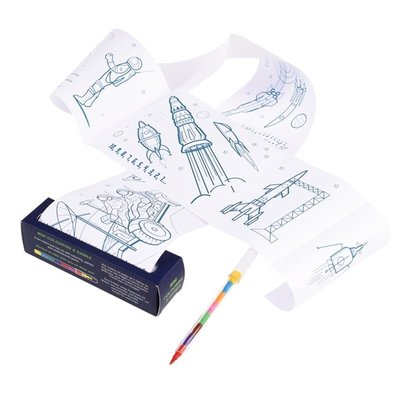 Space Age Mini Colouring & Games Roll