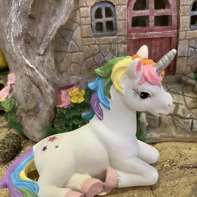 Alator Giftware Rainbow Unicorn Friend Laying on Left Side