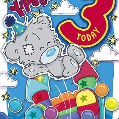 Me to You 3rd Birthday Dinky Bear Card - Yipeee!