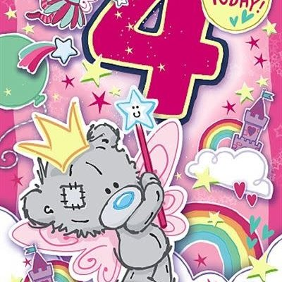 Tatty Ted 4th Birthday Dinky Bear Fairy Card