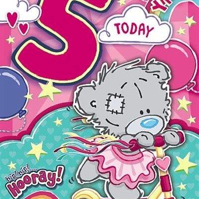 Tatty Ted 5th Birthday Dinky Bear Card - Girl