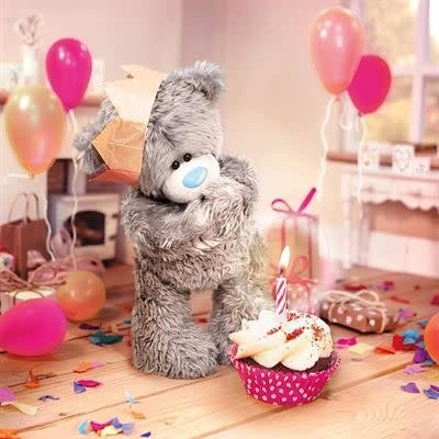 Tatty Ted 3D Effect Birthday Bear in Party Hat - Card