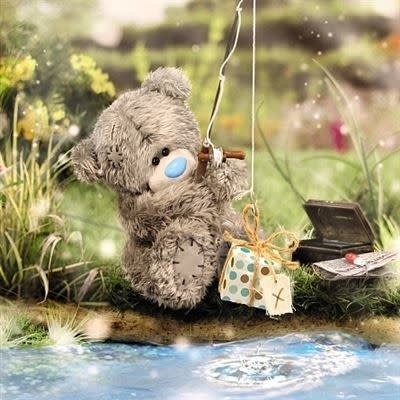 Tatty Ted 3D Effect Bear Fishing Birthday Card