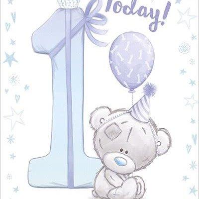 Tatty Ted 1st Birthday Card - Blue